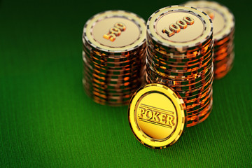 3D Golden poker chips stack on a green table