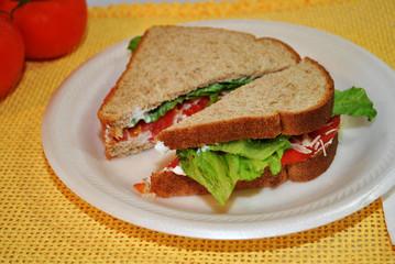 Lettuce and Tomato Sandwich on Wheat Bread