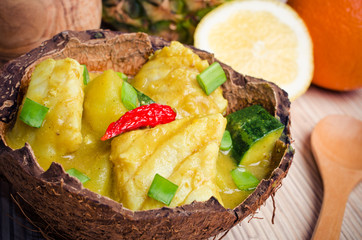 Fish curry with potatoes and zucchini
