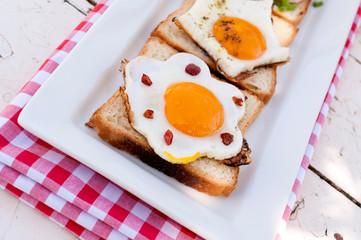 Eggs on bread