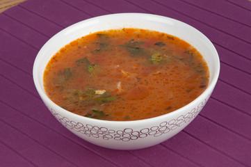 bowl of hot tomato soup