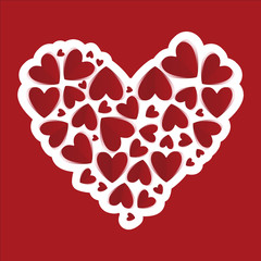 White paper hearts. Valentines day card. On red background