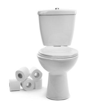 White toilet bowl with toilet paper, isolated on white