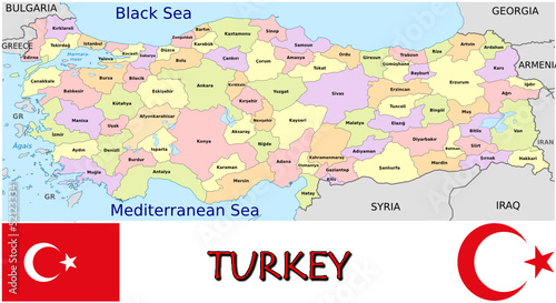 Turkey Europe Asia emblem map symbol administrative divisions Stock