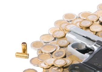 euro coins with  gun