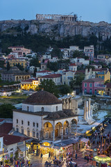 Fototapete - Plaka area and Acropolis in Athens,Greece