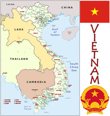 Vietnam Asia emblem map symbol administrative divisions