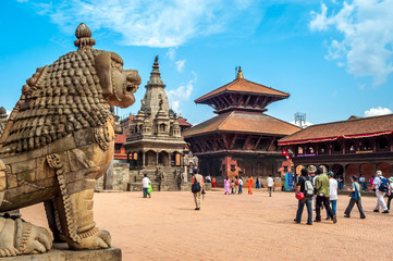 Photo sur cadre textile Népal At Durbar Square in Bhaktapur
