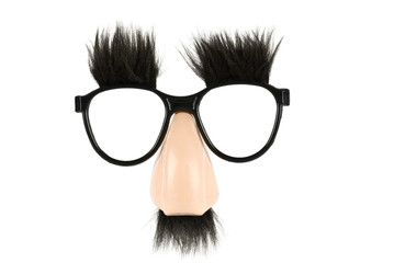 Comical glasses and nose, with mustache and eyebrows on white.