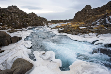 Waterfall in pingvellir valley