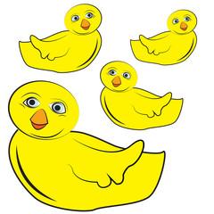 Set of yellow chicks
