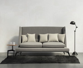 Classic sofa, dark rug, stool and floor lamp, chic living room
