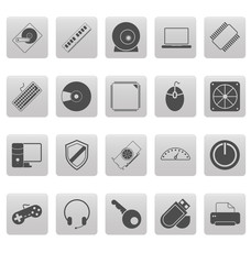 Computer icons on gray squares