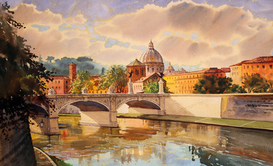Basilica Sant Pietro and Tiber river Rome, Italy.