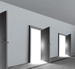 Doors open showing bright white shining light