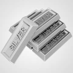 silver ingot group from pure material