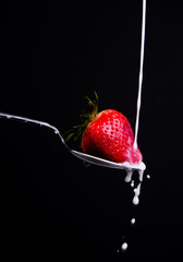 Raw Food Fruit Strawberry Milk Splash on Spoon