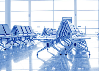 Bench in the shanghai pudong airport.interior of the airport