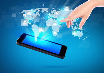 Hand holding Modern communication technology mobile phone show t