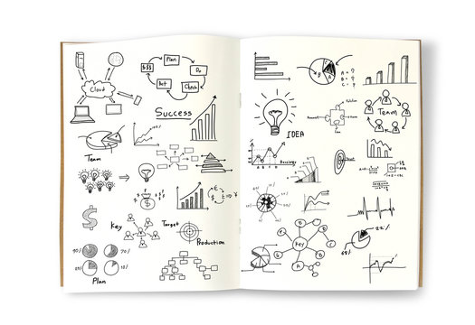 Business concept and graph drawing on book