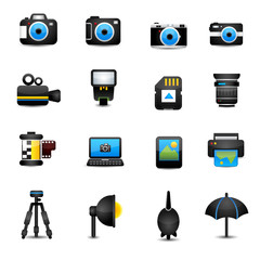 Camera Icons and Camera Accessories black