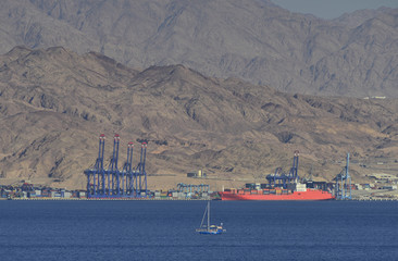View on port of Aqaba from Eilat