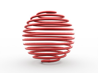 Abstract red spiral sphere isolated
