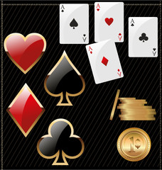 Set of shiny card suit icons and golden poker chips
