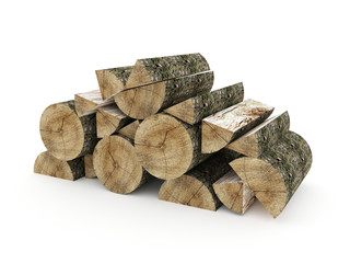 Firewood isolated rendered