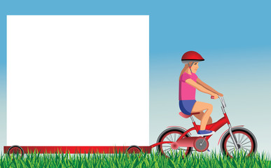 girl on bike with banner