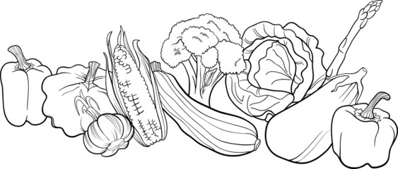 vegetables group illustration for coloring book Wall mural