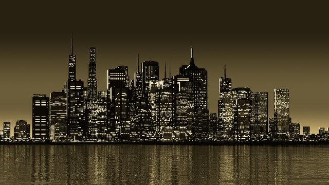 Skyline bei Nacht- Sepia