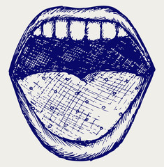 Screaming mouth. Doodle style