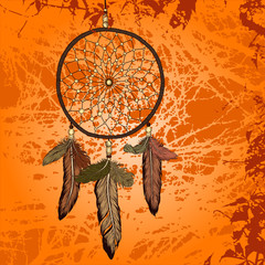 Bright vintage background with dream catcher vector