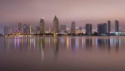 San Diego California City Skyline Midnight Bay Reflection