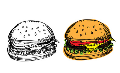 Black-white and colored burgers