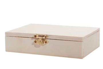 White wooden box on white background