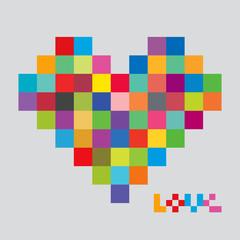 Fotobehang Pixel Heart of color pixels. Heart bit.