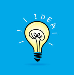 Idea light bulb, Brain inside concept