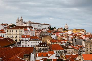 Aerial View on Alfama Quarter of Lisbon, Portugal