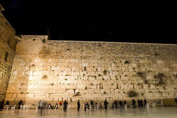 the western wall by night, jerusalem, israel