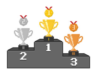 Poster Pixel Pixel podium with trophy cups and medals. Vector illustration.