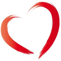 Rotes Herz als Pinselstrich - Symbol der Liebe und der Treue