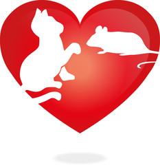 Logo, Katze, Maus, Herz, Zeichen, Symbol