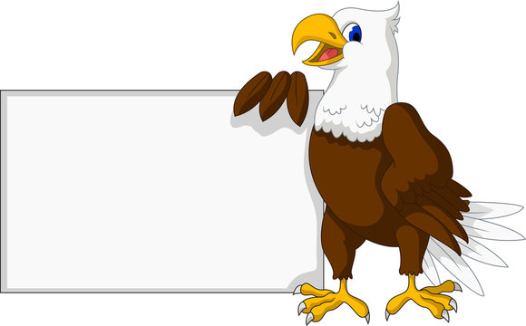eagle cartoon with blank sign