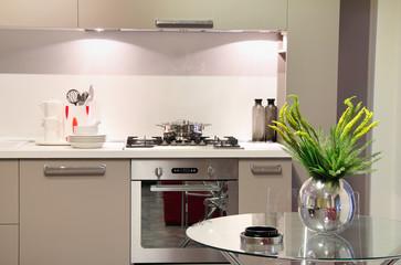 Luxury kitchen with flower decoration