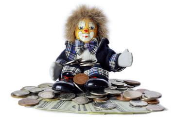 Figurine clown with money dollars