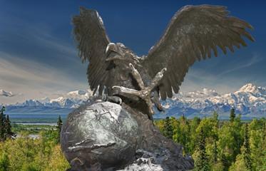 American Eagle bronze sculpture on Alaska background