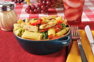 Chicken and broccoli on rigatoni