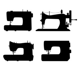 Set of black isolated contour silhouettes of sewing machines